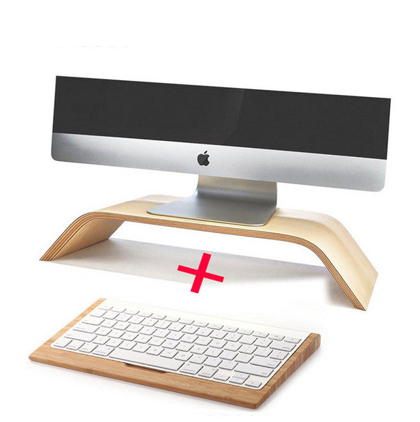 2016 Flash Sale Wooden Birch Vertical Desktop Tablet PC Dock Holder Display Bracket For apple iMac Monitor wireless Keyboard