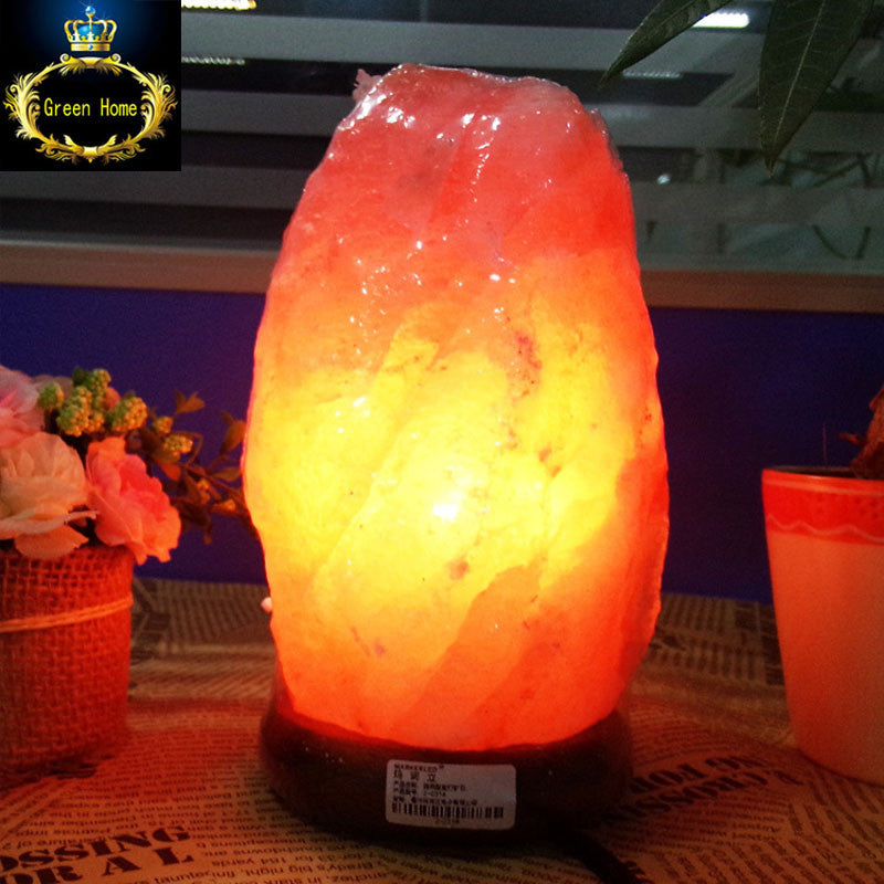 Himalayan Salt Lamp Natural Mineral Rock Light with Neem Wood Base + Plug + Switch + 3W LED Lamp for Air Purification Therapy