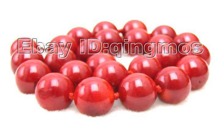"Beautiful! Huge 14-15MM high quality perfect Round GENUINE NATURAL Red Coral 18"" Necklace-5497 Wholesale/retail Free shipping"