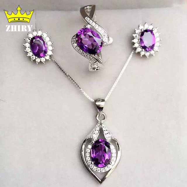 100% natural Amethyst Jewelry set Genuine 925 sterling silver semi Precious stone Fine jewelry sets Birthstone
