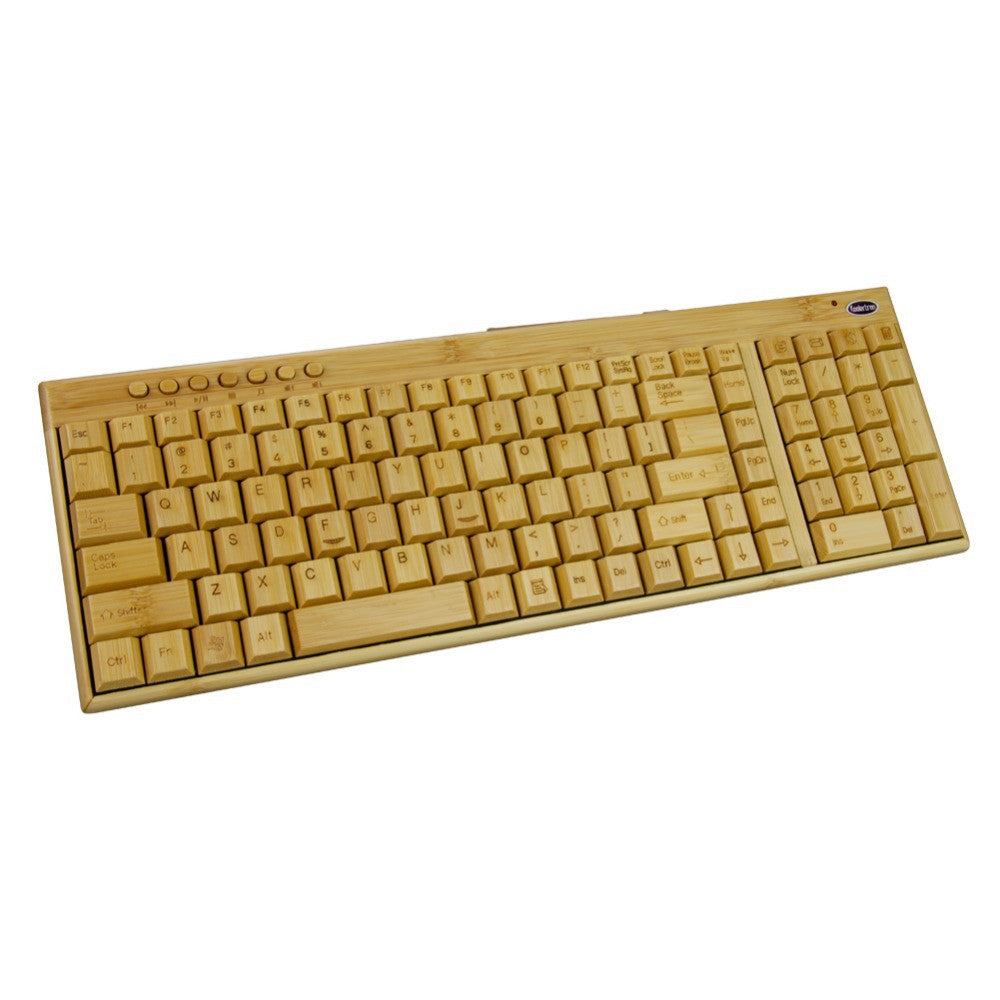 2016 New Koolertron Natural Environmental Handmade Full Bamboo Wooden 2.4G Wireless Keyboard For PC Laptop