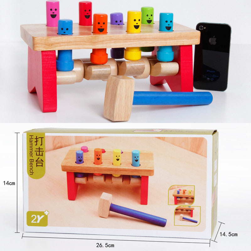 Montessori Kids Toy Knocking Pounding Bench Excellent Quality Wood Preschool Brinquedos Juguets