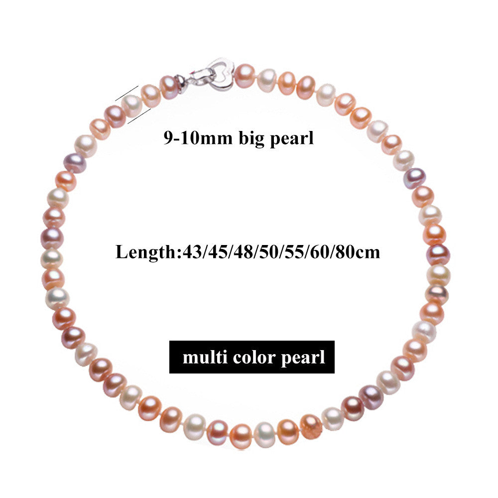 43/45/48/50/55/60/80cm Long Necklace For Women Classic 9-10MM Big Size Natural Pearl Choker Necklace 4 colors Promotion