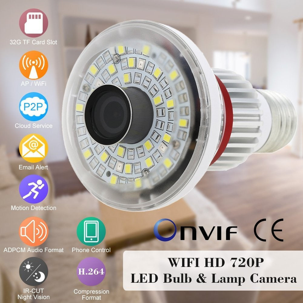 785W New Style HD 720P WiFi Bulb P2P IP Network DVR Camera With 5 Watt White LED Lighting Support Wireless Alarm Sensors