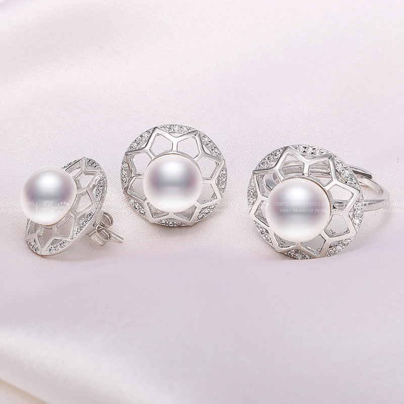 Daimi 9-10 / 10-11mm Big Natural Freshwater Pearl Sets, Luxury Flower Earrings Ring Pearl Sets, Jewelry Sets