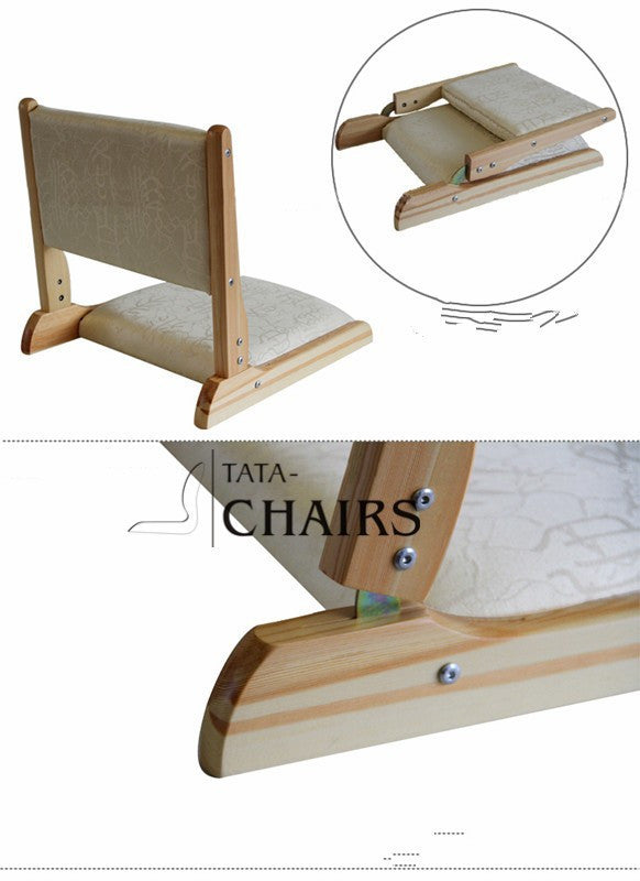 ( 2pcs/lot) Japanese Zaisu Tatami Chair Living Room Floor Seating Furniture Folding Legs Natural Finish Floor Legless Chair