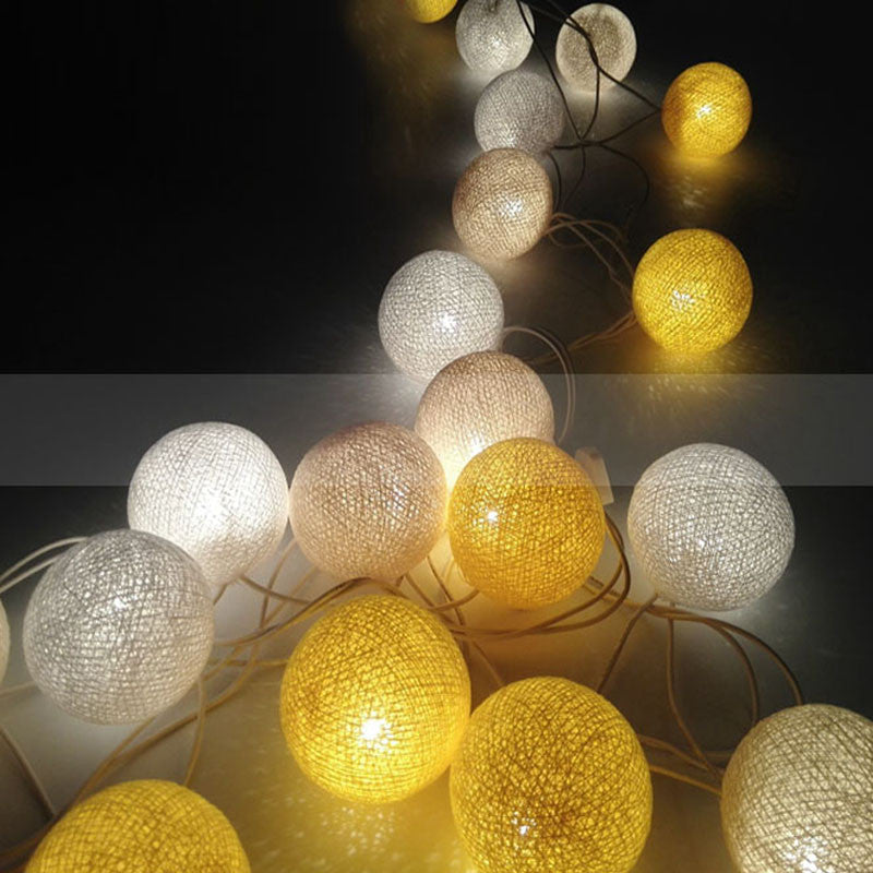 2 meter 20 led string light+20pcs cotton ball globe battery holiday lighting xmas party christmas decor garland LED String Light