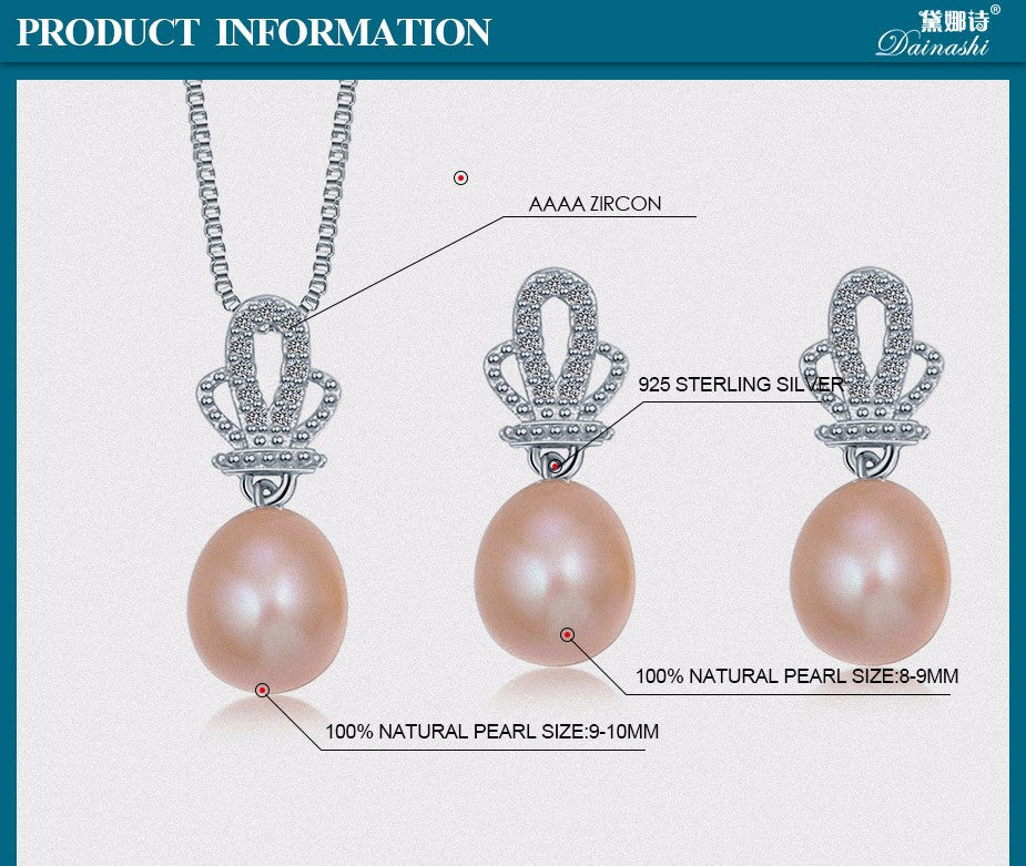 2016 Dainashi Crown Natural Pearl Pendant Earrings 925 Sterling Silver Jewellery Sets,White Pink Purple 9-10mm Water Drop Pearl