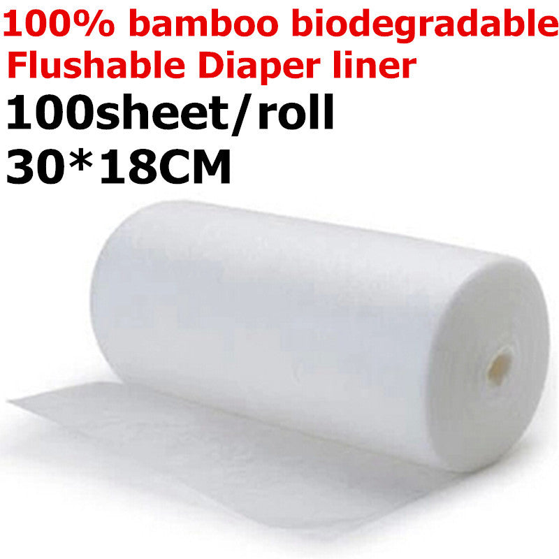 1 Roll Bamboo Flushable Liner,100 Sheets/Roll Biodegradable Disposable For 3-36 Months And 3-15 Kgs Baby,Wholesale Selling