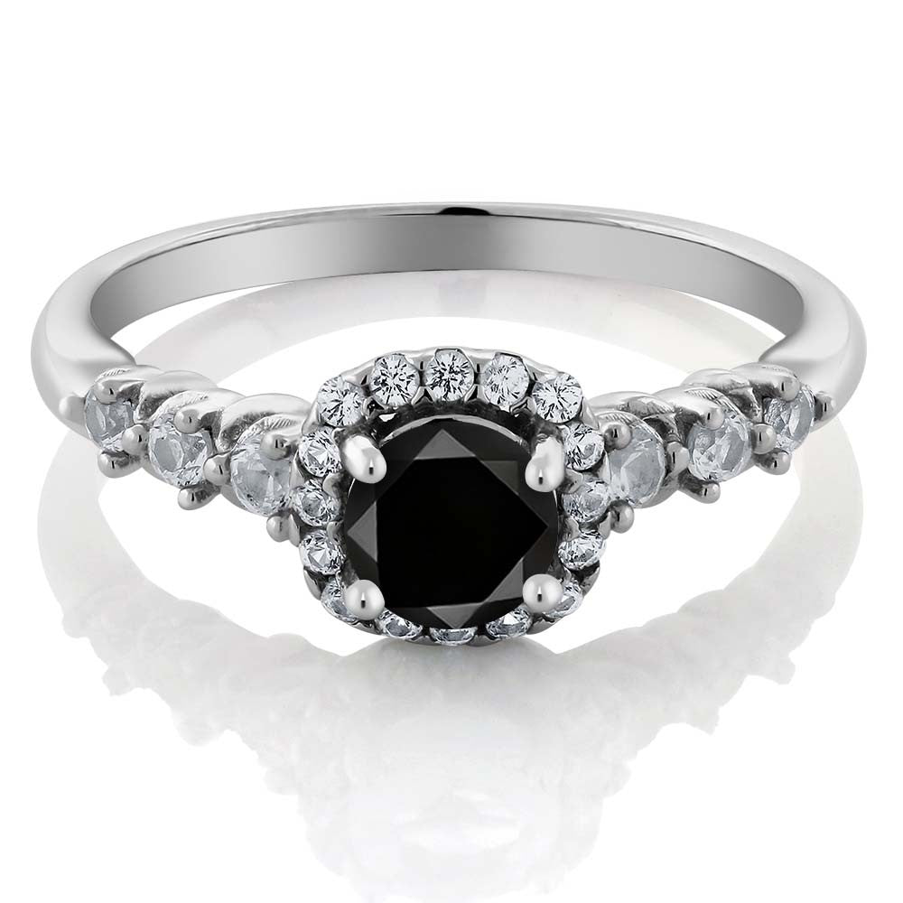 0.97 Ct Round Natural Black Diamond White Topaz 925 Sterling Silver Engagement Wedding Rings For Women GemStoneKing