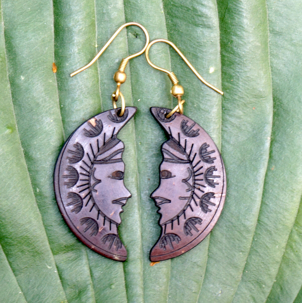 COCONUT MOON EARRINGS.  cut into the shape of a beautiful crescent moon. - SustainTheFuture.us - The Natural and Organic Way of Life