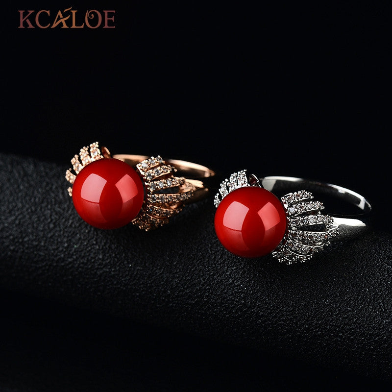 Red Coral Ring Natural White Zircon Crystal Round Ball Ruby Stone 18K Rose Gold And Silver Plated Coral Ring Anillos De Boda