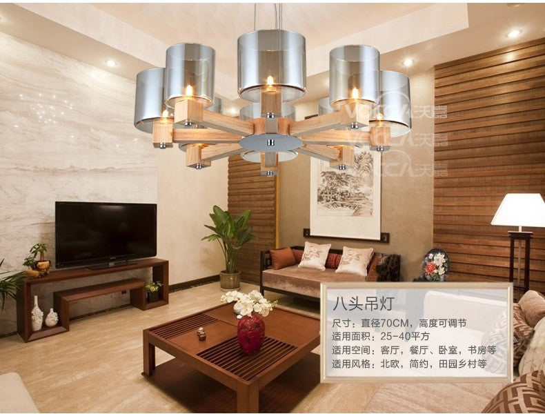 American Country Retro Wooden Pendant Lamp Glass Shade Wood Support Simple Loft Light Dining Light Coffee Light Free Shipping