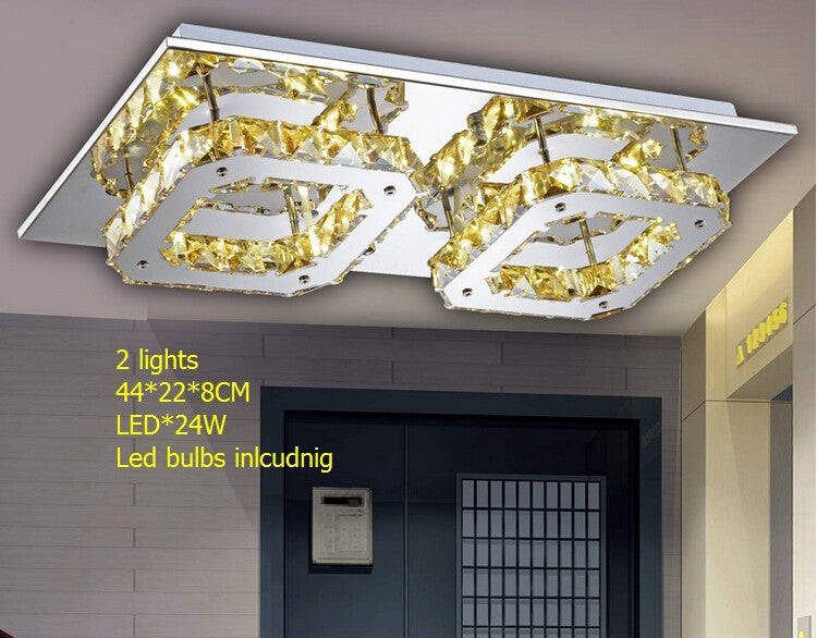 4 lights amber crystal square ceiling lamp / led *48W 45*45*8CM  LE bulbs stainless steel european luxury living room lamp