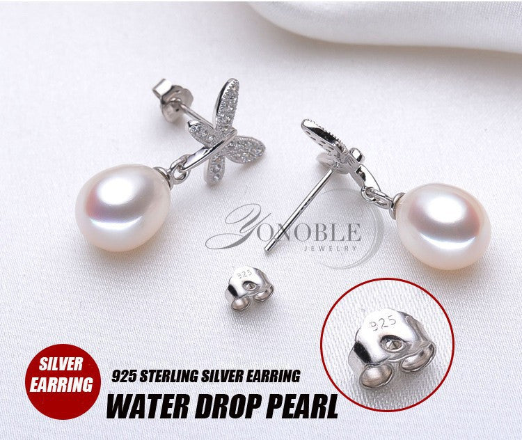 100% real natural pearl earrings for women,white freshwater pearl earrings jewelry wedding birthday gift brincos de prata pink