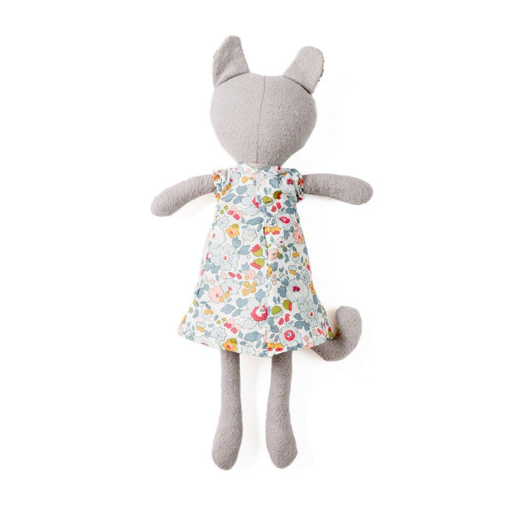 HAZEL VILLAGE ORGANIC GRACIE CAT DOLL IN LIBERTY LONDON DRESS