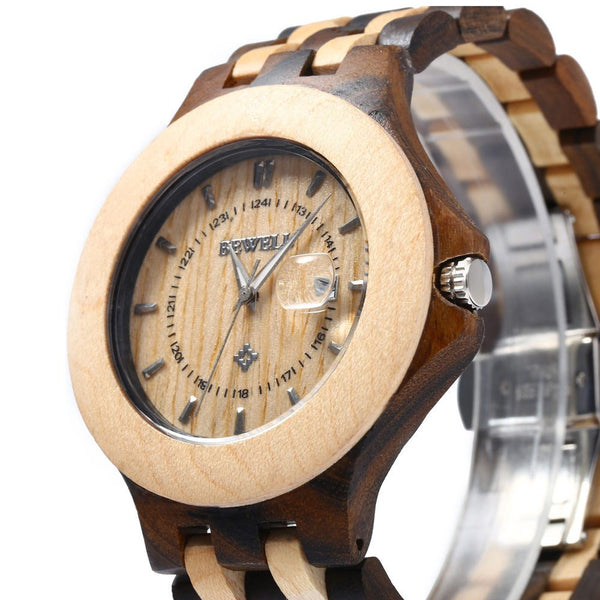 2016 Bewell Wooden Watch Men Luxury Brand Quartz Watch Date Luminous Waterproof Male Wood Wristwatches relogio