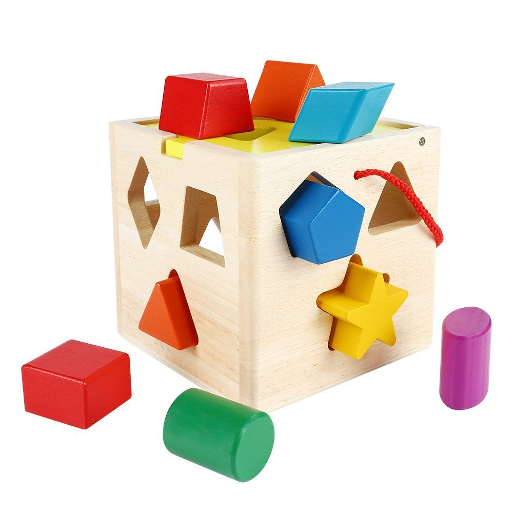 13 Holes Intelligence Box of Baby Early Education Enlightenment Cognitive Wooden Shape Solid Blocks Toys for Children