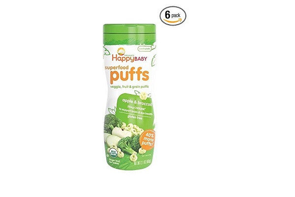 Happy Baby Organic Superfood Puffs, Apple & Broccoli - 20mg of Choline - SustainTheFuture.us - The Natural and Organic Way of Life