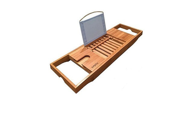 AZT Plus Luxury Organic Bamboo Bathtub Caddy Tray with Extending Sides - ADJUSTABLE - SustainTheFuture.us - The Natural and Organic Way of Life