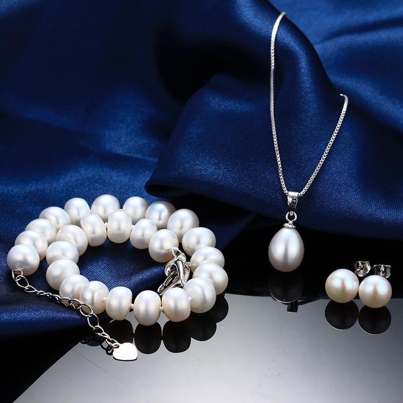 Real Natural Pearl Bracelet Pendant Earrings Three Jewelry Sets for Women Pearl Necklace/Earring/Bracelet Wedding Jewelry Set