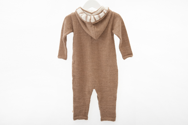 ALPACA WOOL HOODED JUMPSUIT - CARAMEL