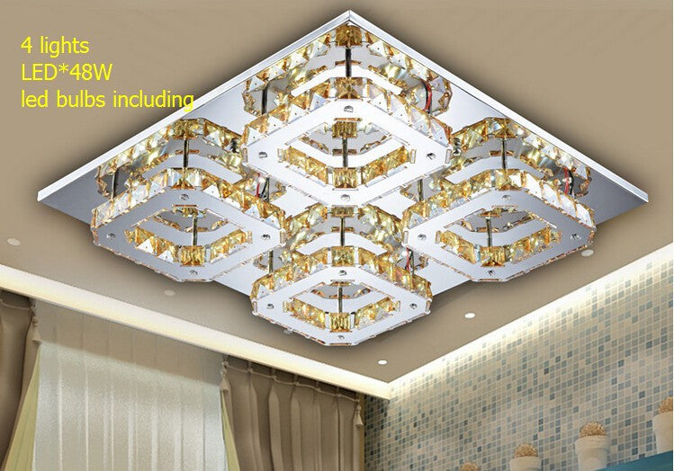 Free shipping! 2015 Hot Sales ! 2 lights entrance ceiling lamp / led *24W 44*22*8CM stainless steel amber crystal corridor lamp