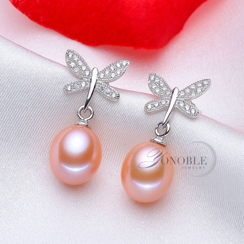 Real Freshwater pearl earrings women,natural pearl earring 925 silver wedding fine jewelry birthday best gift white butterfly