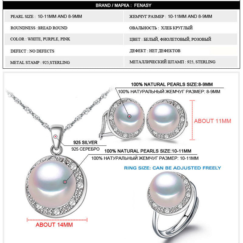 FENASY selling natural pearl jewelry set for women fashion 925 sterling silver pendant & earrings , pearl jewelry , 2016 new