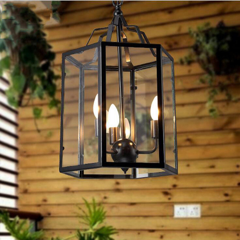 LOFT style pendant light American country retro Birdcage lamp Creative restaurant bar home lighting iron cage with glass shade