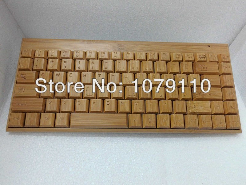 100% Natural Bamboo Wooden handmade Wood PC Multi-media Function wireless Keyboard and Mouse Combo,