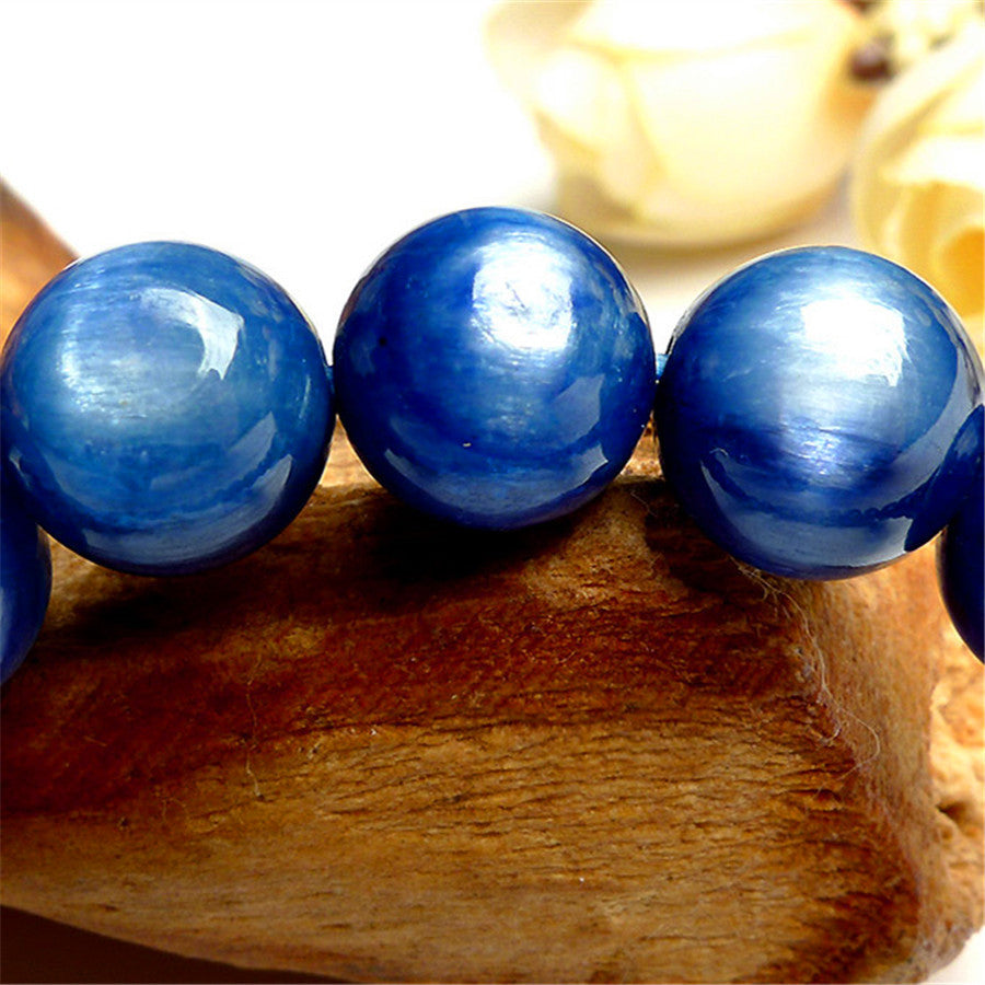 2016 New Fashion Blue Round Bead Bracelets For Women 9mm Genuine Kyanite Gems Natural Stone Crystal Stretch Charm Bracelet Femme
