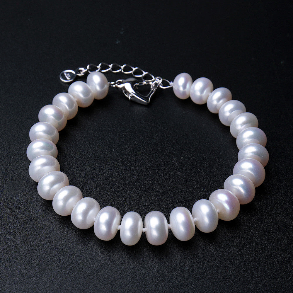2015 Hot Fashion 9-10mm big size natural freshwater pearl bracelet for women top quality multi-color charm bracelet best price