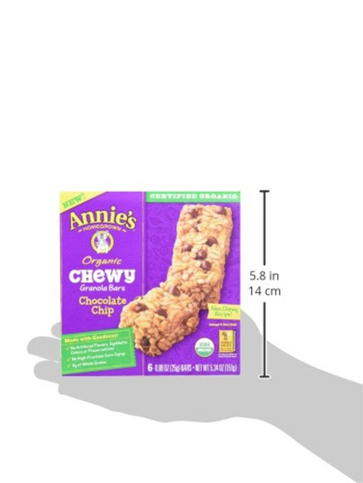 Annie's Homegrown Organic Chewy Granola Bars, Chocolate Chip (Pack Of 12) - SustainTheFuture.us - The Natural and Organic Way of Life