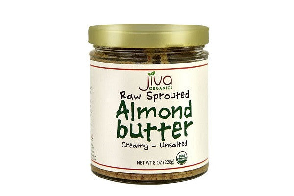 Jiva Organics RAW SPROUTED Organic Almond Butter - 100% USDA Organic - SustainTheFuture.us - The Natural and Organic Way of Life