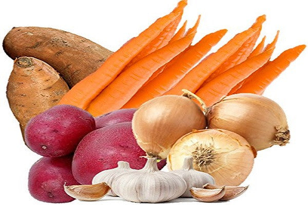 Hearty Organic Vegetable Box with Sweet Potatoes, Carrots, Red Skin Potatoes, Texas Sweet Onions, and Garlic From Organic Mountain - SustainTheFuture.us - The Natural and Organic Way of Life