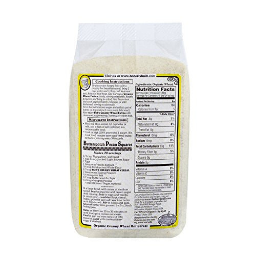 Bob's Red Mill Organic White Wheat Farina, 24-Ounce (Pack of 4) - Cholesterol free