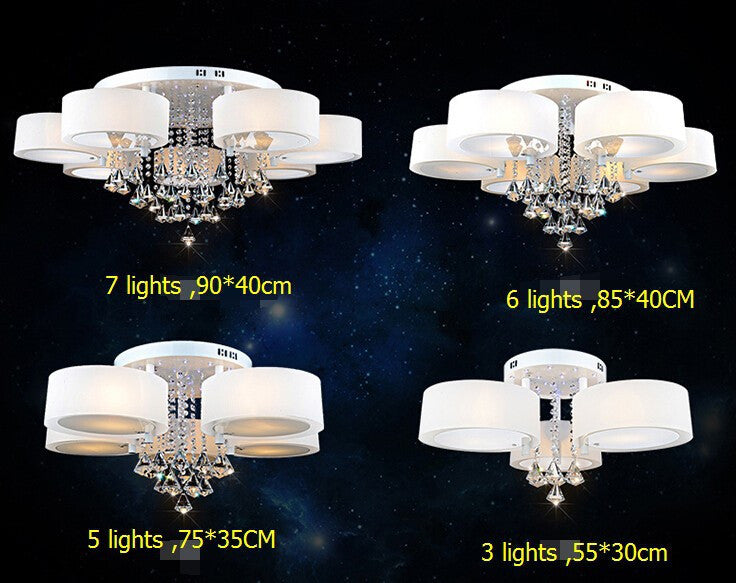 3 lights Luxury led  light fashion round acrylic ceiling light /E27*3 sitting room bedroom dining-room crystal change colors