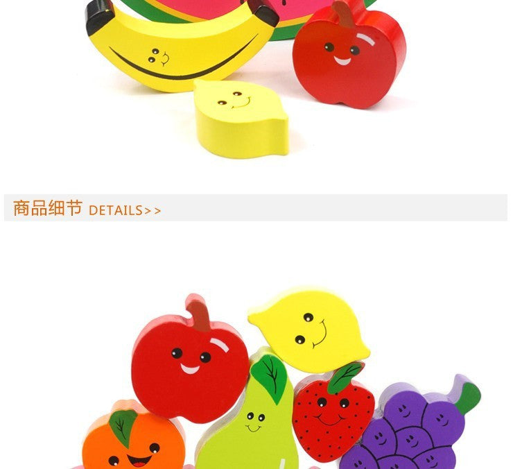 1pc Baby  Educational Balancing Blocks Toys / fruite Wooden Balance Game Toys/ Montessori Blocks Gift For Child, Free shipping