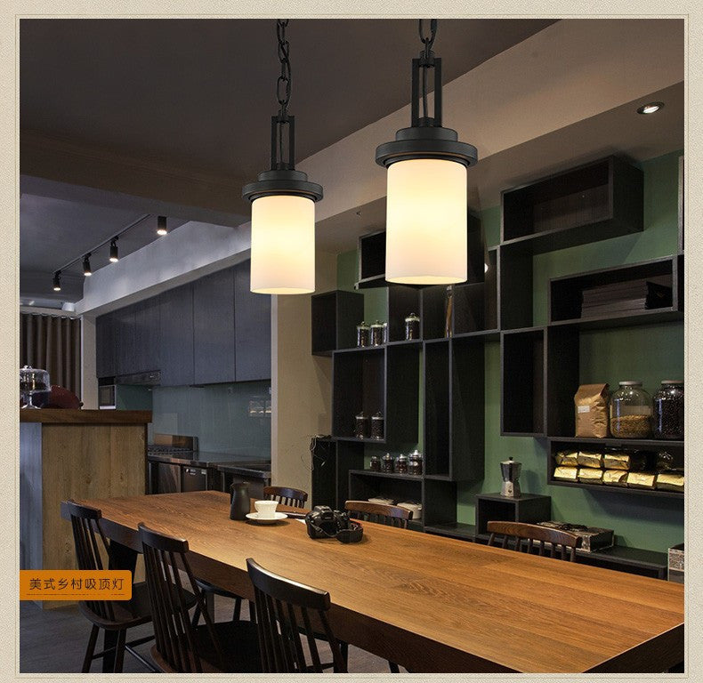 American Retro LED Vintage Pendant Lamp Fixtures Indoor Lighting Glass Lampshade In Style Loft Industrial Pendant Lamp