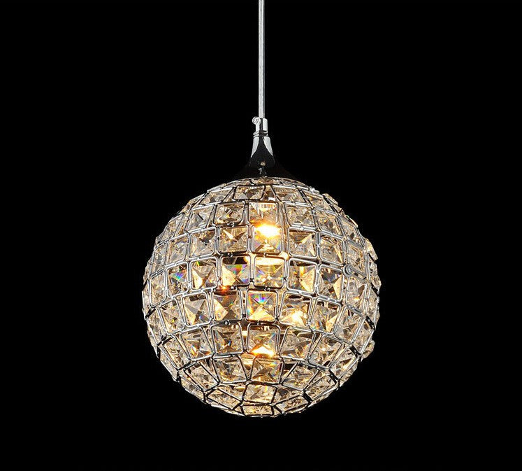 2016 Modern LED crystal chandelier Round stainless steel pendant lamp luster light Restaurant droplight E27 lamp 110V-260V D20cm