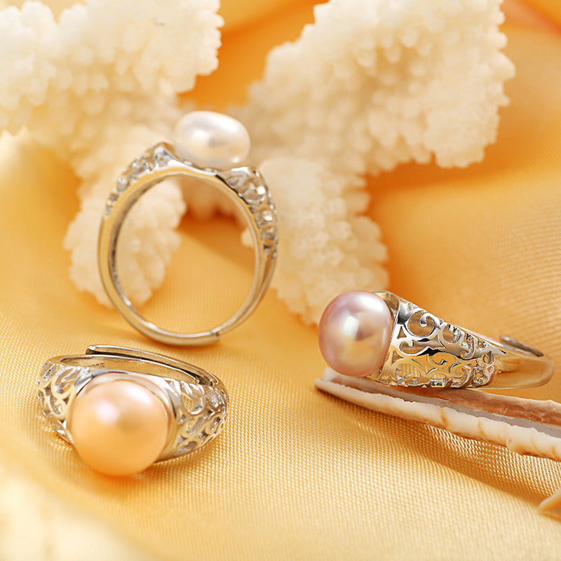 HENGSHENG 100% Real Freshwater Natural Pearl Jewelry Rings For Women With Nice 925 Sterling Silver Rings In Gift Box 9-10mm