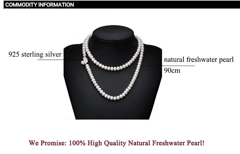 100% Genuine Fashion Pearl Necklace Natural Freshwater Pearl Long Necklace Charm Accessories Statement Necklace For Women Gift