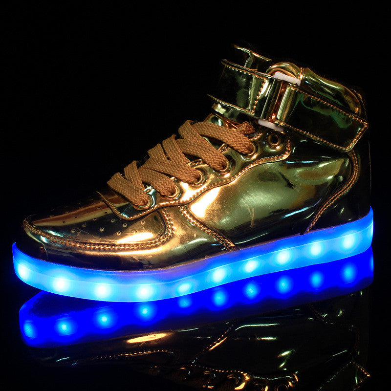 2016 women lights up led luminous shoes high top glowing casual shoes with new simulation sole charge for men adults neon basket