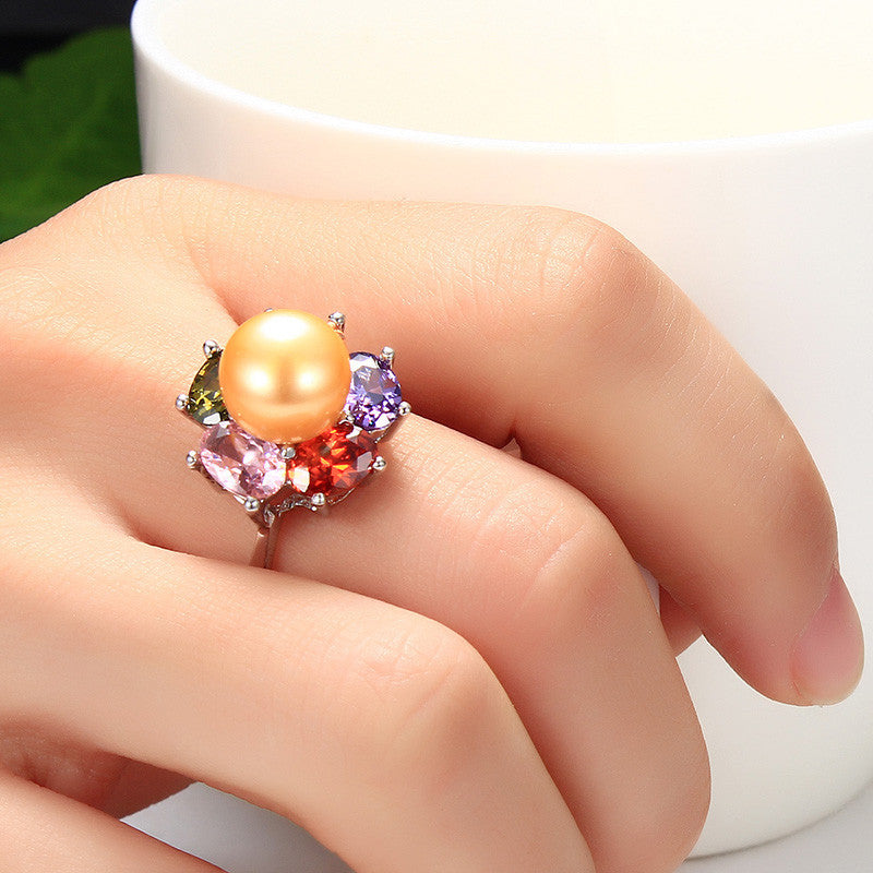 HENGSHENG Colorful Flower Wedding Rings High Quality 925 Sterling Silver Jewelry Natural Big Pearl Adjustable Rings For Women