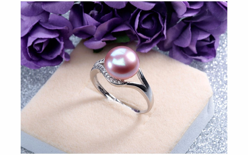 100% Real Freshwater Pearl Ring For Women 925 Sterling Silver Adjustable Ring 10-11mm AAAA Natural Pearl Jewelry With Gift Box