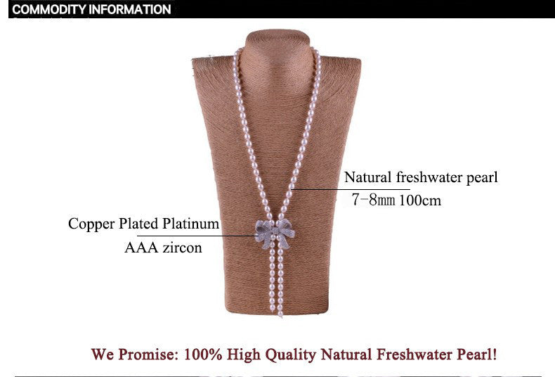 High Quality Fashion Long Pearl Necklace Natural Freshwater Pearl Butterfly Pearl Jewelry For Women Statement Necklace Gift