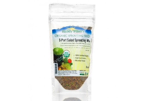 5 Part Salad Sprouting Mix (4oz zipper pack) Certified Organic - Quick to germinate - SustainTheFuture.us - The Natural and Organic Way of Life