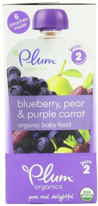 Plum Organics Baby Second Blends - Blueberry, Pear and Purple Carrot (Pack of 12)