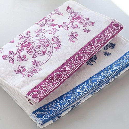 KINGOU Towel Exquisite Chinese Blue and White Porcelain Floral Pattern Cotton - Soft, comfortable - SustainTheFuture.us - The Natural and Organic Way of Life